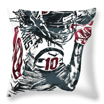 Throw Pillow featuring the mixed media Deandre Hopkins Houston Texans Pixel Art by Joe Hamilton