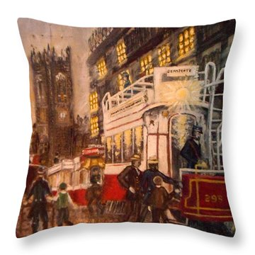 Deansgate With Tram Throw Pillow