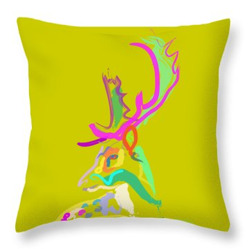 Throw Pillow featuring the painting Dear Deer by Go Van Kampen
