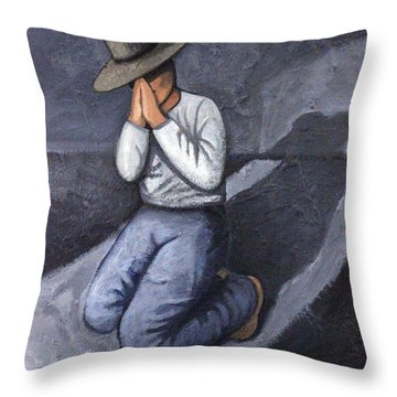 Throw Pillow featuring the painting Dear God 3 by Lance Headlee