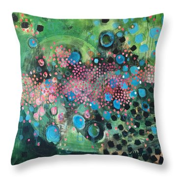 Throw Pillow featuring the painting Dear Sugar A Pocket Of Delights by Laurie Maves ART