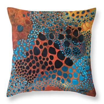Throw Pillow featuring the painting Dear Sugar What Can I Learn From An Orange Sky? by Laurie Maves ART