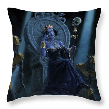 Death Queen On Throne With Skulls Throw Pillow