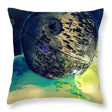 Death Star Illustration  Throw Pillow