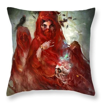 Throw Pillow featuring the digital art Death by Te Hu