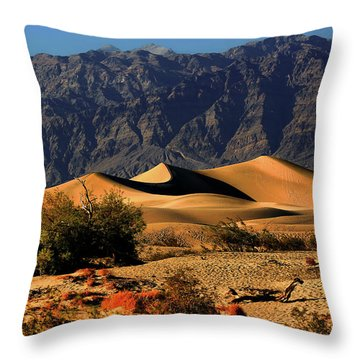 Death Valley's Mesquite Flat Sand Dunes Throw Pillow by Christine Till