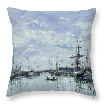 Deauville The Dock Throw Pillow by Eugene Louis Boudin