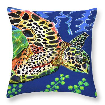 Debs Honu Throw Pillow by Debbie Chamberlin