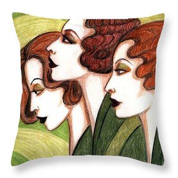 Debutante Trio Throw Pillow by Tara Hutton