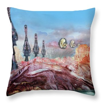 Decalcomaniac Transmission Towers Throw Pillow by Otto Rapp