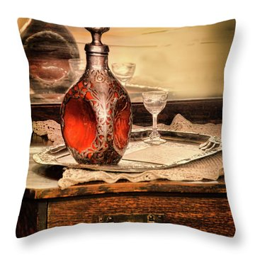 Decanter And Glass Throw Pillow by Jill Battaglia