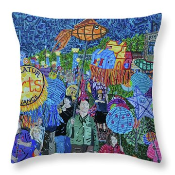 Decatur Lantern Parade Throw Pillow by Micah Mullen