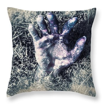 Decaying Zombie Hand Emerging From Ground Throw Pillow