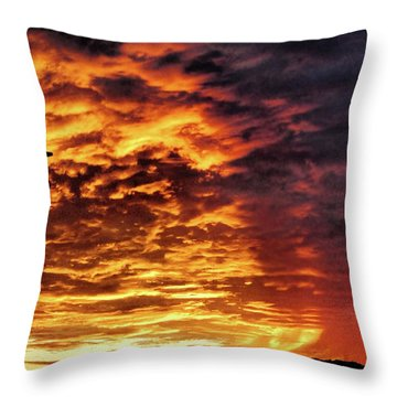Throw Pillow featuring the painting December Austin Sunset  by Layne William LoMaglio