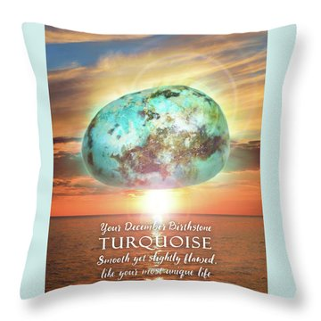 December Birthstone Turquoise Throw Pillow