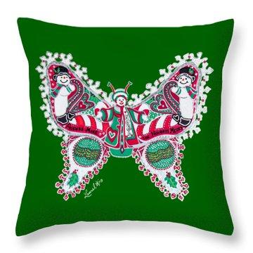 December Butterfly Throw Pillow