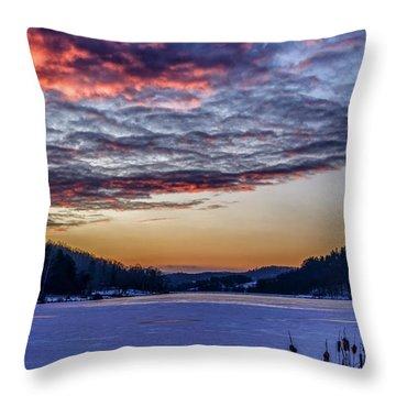 December Dawn On The Lake Throw Pillow