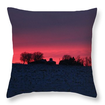 December Farm Sunset Throw Pillow