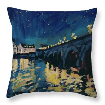 December Lights At The Old Bridge Throw Pillow by Nop Briex