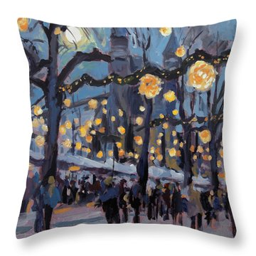 December Lights At The Our Lady Square Maastricht 1 Throw Pillow by Nop Briex