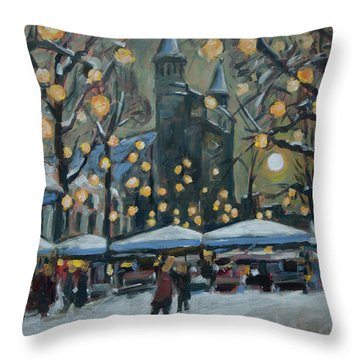 December Lights At The Our Lady Square Maastricht 2 Throw Pillow