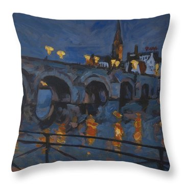 December Lights Old Bridge Maastricht Acryl Throw Pillow