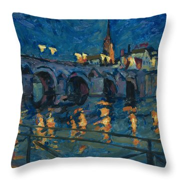 December Lights Old Bridge Maastricht Throw Pillow