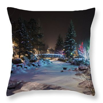 December On The Riverwalk Throw Pillow by Perspective Imagery