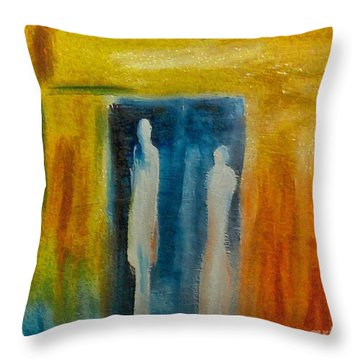 Throw Pillow featuring the mixed media Decision by Dragica  Micki Fortuna