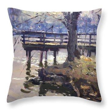 Deck At Tonawanda Canal Throw Pillow