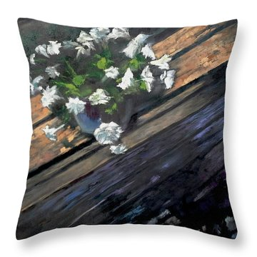 Deck Flowers #1 Throw Pillow by Brian Kardell
