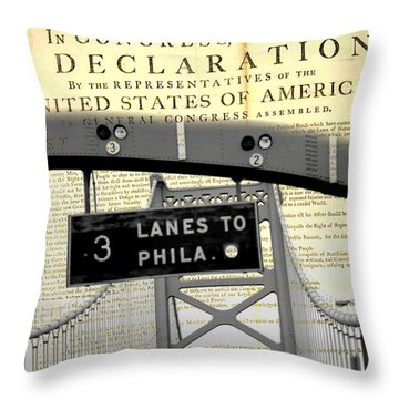 Declaration Of Independence Ben Franklin Bridge Throw Pillow