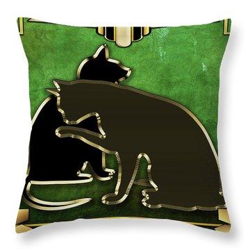 Deco Cats - Emerald Throw Pillow