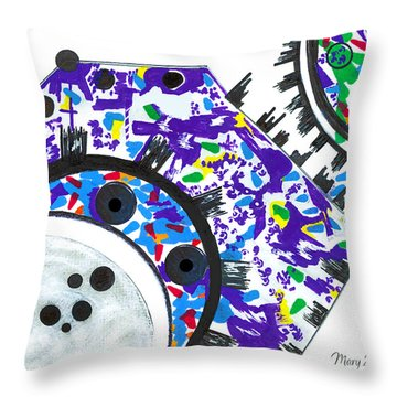 Deco Cogs Throw Pillow