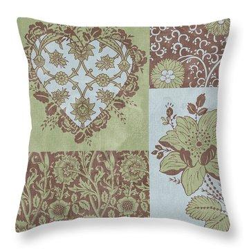 Deco Heart Sage Throw Pillow