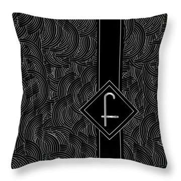 Deco Jazz Swing Monogram ...letter F Throw Pillow