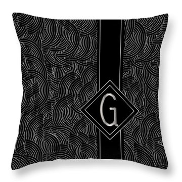 Deco Jazz Swing Monogram ...letter G Throw Pillow