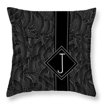 Deco Jazz Swing Monogram ...letter J Throw Pillow