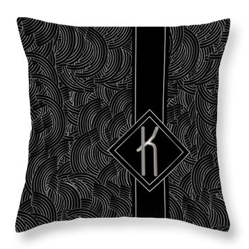 Deco Jazz Swing Monogram ...letter K Throw Pillow