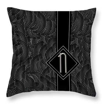 Deco Jazz Swing Monogram ...letter N Throw Pillow