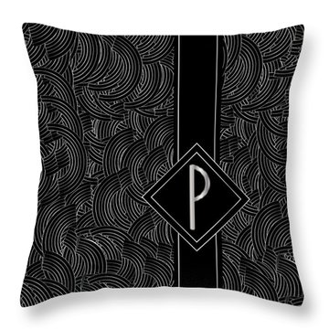 Deco Jazz Swing Monogram ...letter P Throw Pillow