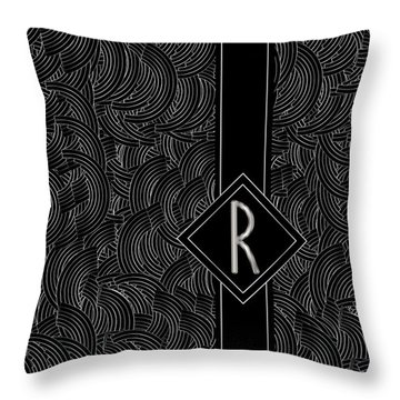 Deco Jazz Swing Monogram ...letter R Throw Pillow