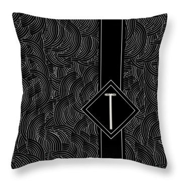 Deco Jazz Swing Monogram ...letter T Throw Pillow
