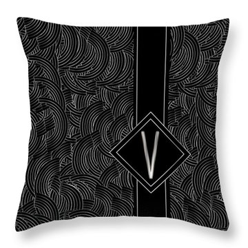 Deco Jazz Swing Monogram ...letter V Throw Pillow
