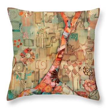 Throw Pillow featuring the painting Deco Tree by Carrie Joy Byrnes