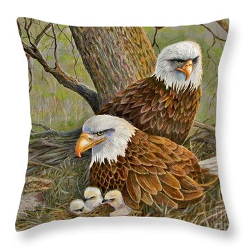 Decorah Eagle Family Throw Pillow