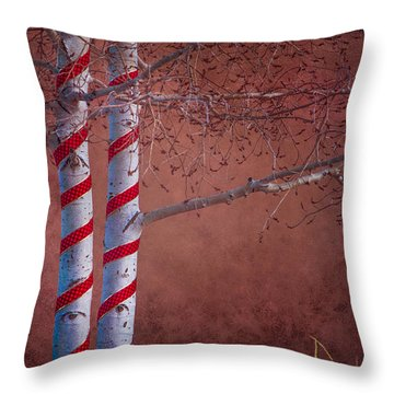 Decorated Aspens Throw Pillow