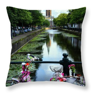 Throw Pillow featuring the photograph Canal And Decorated Bike In The Hague by RicardMN Photography