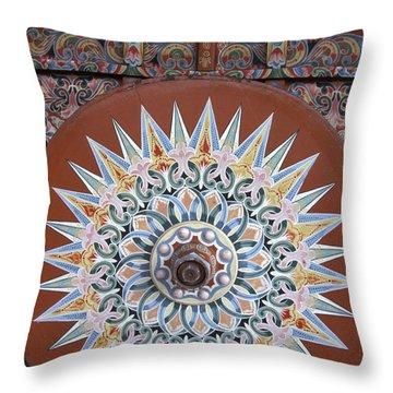 Decorated Oxcart Wheel Costa Rica Throw Pillow