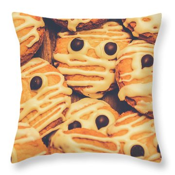 Decorated Shortbread Mummy Cookies Throw Pillow